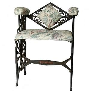 Antique Art Deco Erte Style Wrought Iron Boudoir Chair