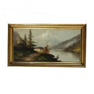 Antique Hudson River School Oil on Board Landscape 1890