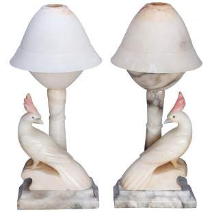 Pair of Art Deco Carved Italian Marble/Alabaster Lamps