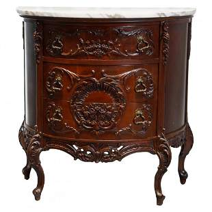 French Carved Mahogany Marble Top Demilune Commode