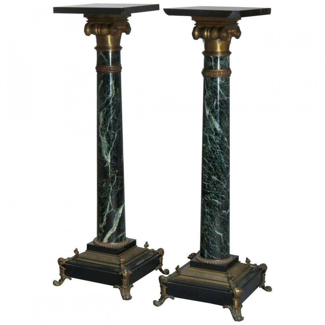 Pair of Neoclassical Bronze & Marble Sculpture Pedestal