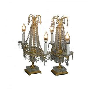 French Style Pair of Bronze/Crystal Candelabra Lamps