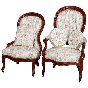 Victorian Carved Walnut Upholstered Parlor Chair Set