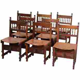 8 French Renaissance Walnut/Leather Dining Chairs 19thC