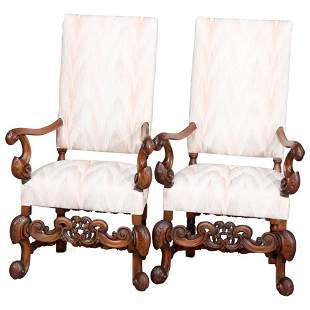 Continental Baroque Walnut Tall Fireside Armchairs