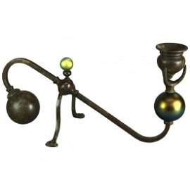 Art Nouveau Tiffany Favrile & Bronze Root Candelabra