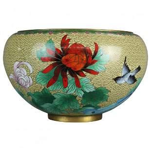 Chinese Polychrome Floral Cloisonné Enameled Bowl,c1900