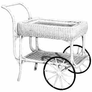 Victorian Heywood Wakefield (attr) Wicker Serving Cart