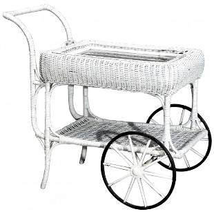 Victorian Heywood Wakefield (attr) Wicker Serving Cart