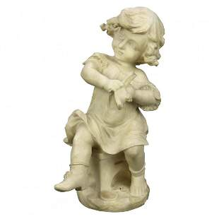 Carved Alabaster Sculpture of Young Girl by Cipriani