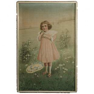 Antique Tapestry Oil Painting of Young Girl c1900