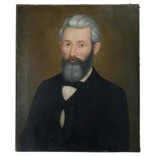Antique Oil on Canvas Portrait of a Gentleman, c1880
