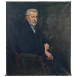 """43""""x37"""" Portrait Painting of Gentleman Scholar, Signed"""