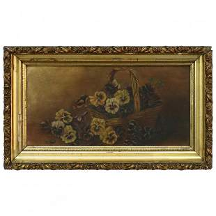 Floral Still Life Oil/Board Painting of Pansies, c1890