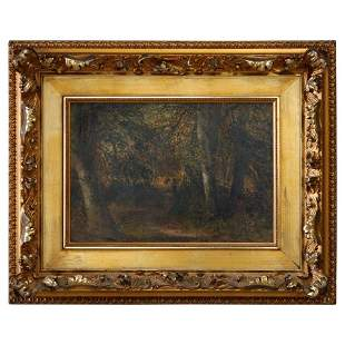Painting of Forest with Figures, Signed Pomeroy, c1890