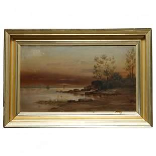 Hudson River School Painting in Lemon Gilt Frame c1860