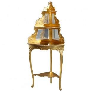 French Louis XIV Giltwood Gold Leaf Corner Étagère