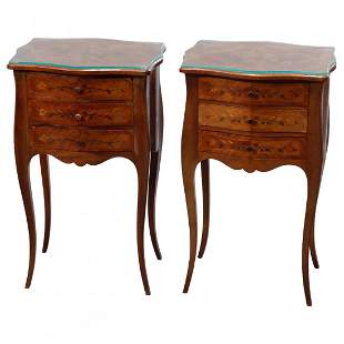 Pair French Style Mahogany Floral Marquetry Side Stands