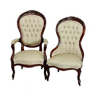 Victorian Carved Walnut Button Back Parlor Chairs