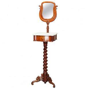 Victorian Rosewood Marble-Top Shaving Mirror, c1880