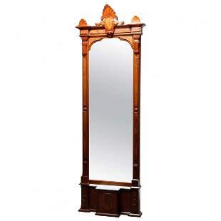 "Eastlake Walnut, Burl & Marble Pier Mirror,102""h, c1880"