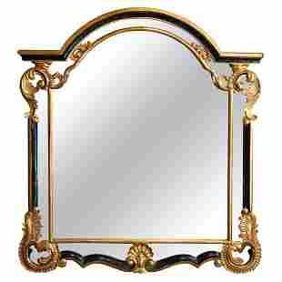 French Louis XIV Giltwood & Ebonized Mantle Mirror