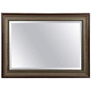 Cove Molded Silver & Gold Gilt Mahogany Framed Mirror