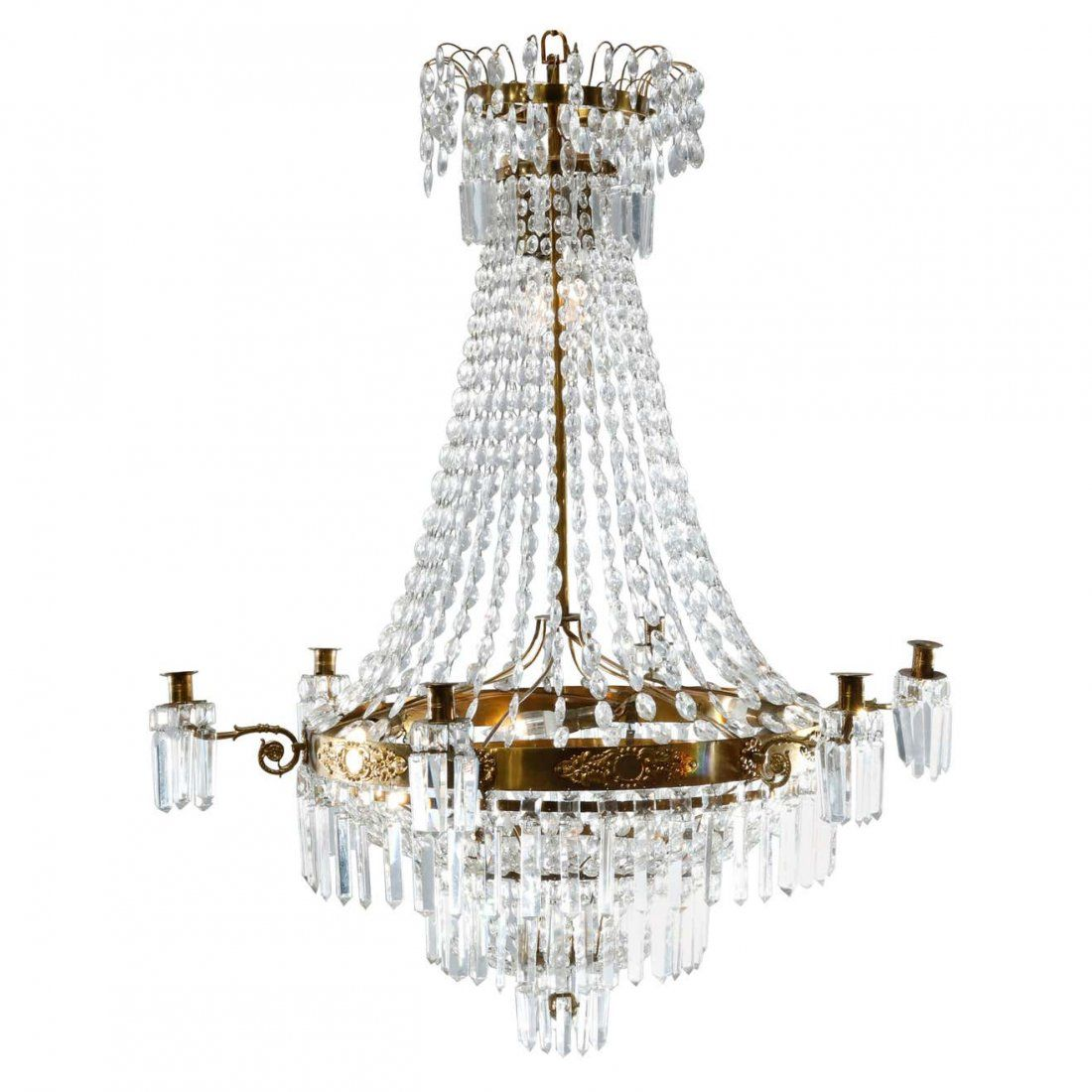 French Style Crystal & Bronzed Wedding Cake Chandelier