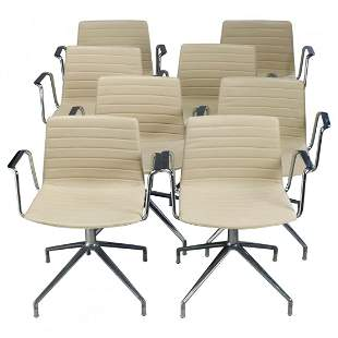 8 MCM Eames for Miller School Chrome Chairs, Cazzaniga