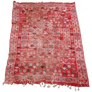 "Moroccan Figural Soumak Wool Rug w/Birds 110""x82"" c1920"