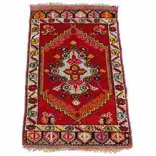 "Turkish Yastik Wool Oriental Nomad Rug 39""x20"", c1920"