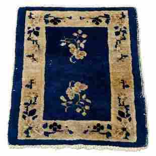 """Chinese Peking Floral Oriental Wool Mat 22""""x18"""", c1920"""