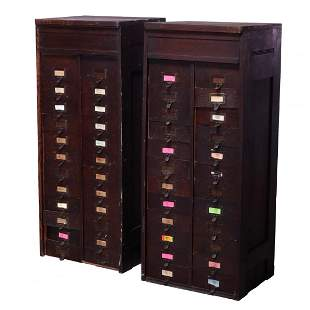Pair of Oak File Cabinets With Lift Front Panels, c1910