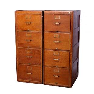 Arts & Crafts Pair Yale Oak Four Drawer File Cabinets