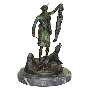 French Bronze Sporting Hunt Sculpture by PJ Mene