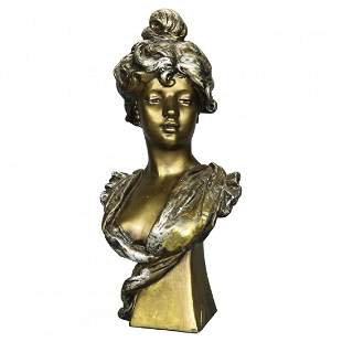 Antique Art Nouveau Gilt Plaster Portrait Bust c1910