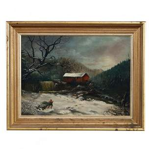 Landscape Winter Scene Oil Painting Signed F. Pasew