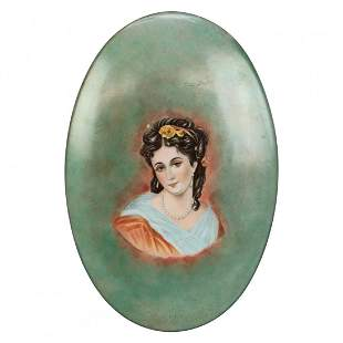 Limoges French Hand Painted Porcelain Plaque, c1890