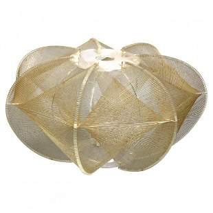 MCM Lucite & Gold Nylon Spherical String Light Shade