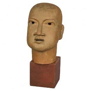 Mid Century Modern Terracotta Bust Sculpture of a Man