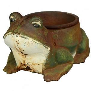Figural Cast Iron Polychrome Frog Garden Planter