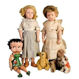 Antique Dolls incl Mohair Bear, Betty Boop, Shoenhut
