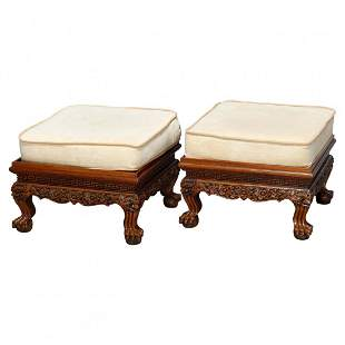 2 Chinese Carved Hardwood Benches, 20th C