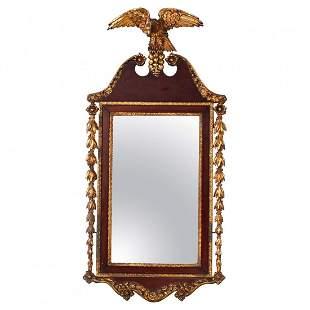 Federal Figural Giltwood & Mahogany Wall Mirror, c1830
