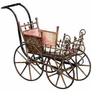 Victorian Heywood Wakefield School Wicker Baby Buggy