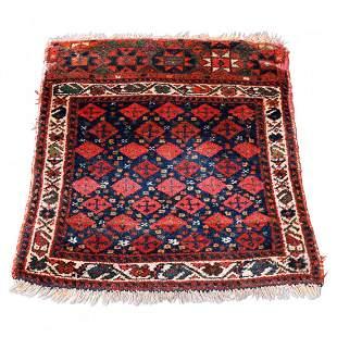 "Antique Kurdish Oriental Wool Bag Face 28""x23"", c1920"