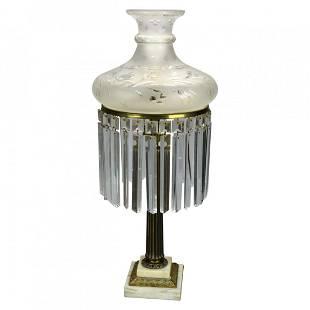 Large Neoclassical Brass Sinumbra Lamp, Cut Glass Shade