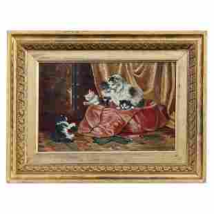 Victorian Oil Painting, Interior Scene of Kittens c1890
