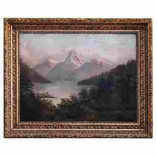 Antique Oil on Board of Landscape w/Village c1879
