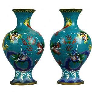 Pair Chinese Meiji Cloisonne Enameled Dragon Vases